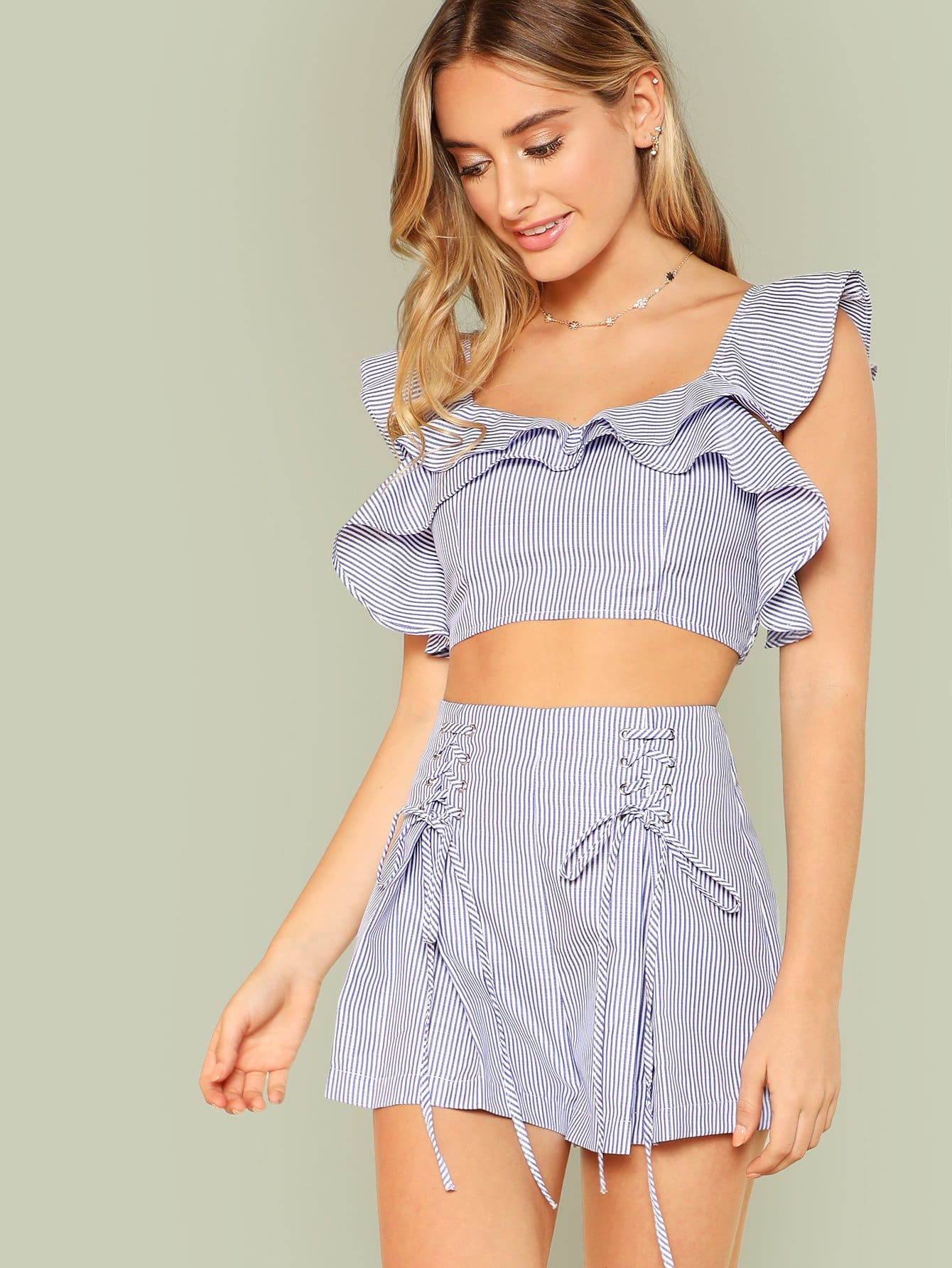 Ruffle Striped Crop Top & Lace Up Shorts Co-Ord jungle print crop tank top and pleated shorts co ord