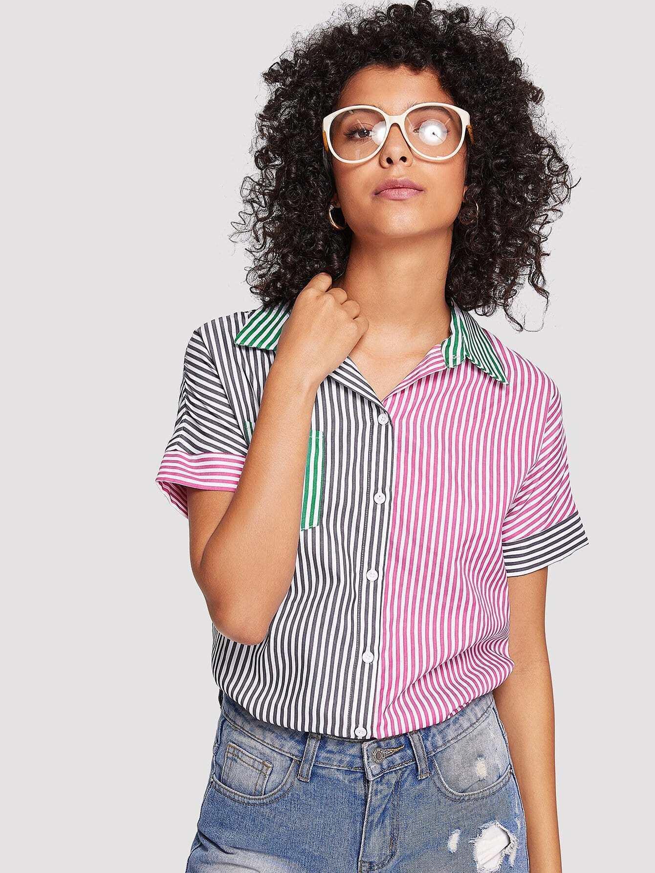 Single Pocket Color Block Striped Shirt single pocket color block tee