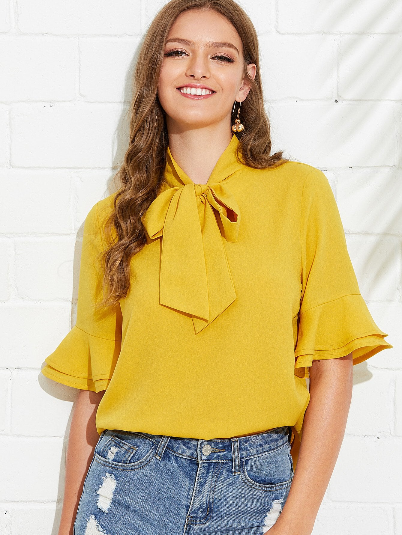 Tie Neck Layered Bell Sleeve Top frilled bardot neck layered bell sleeve top