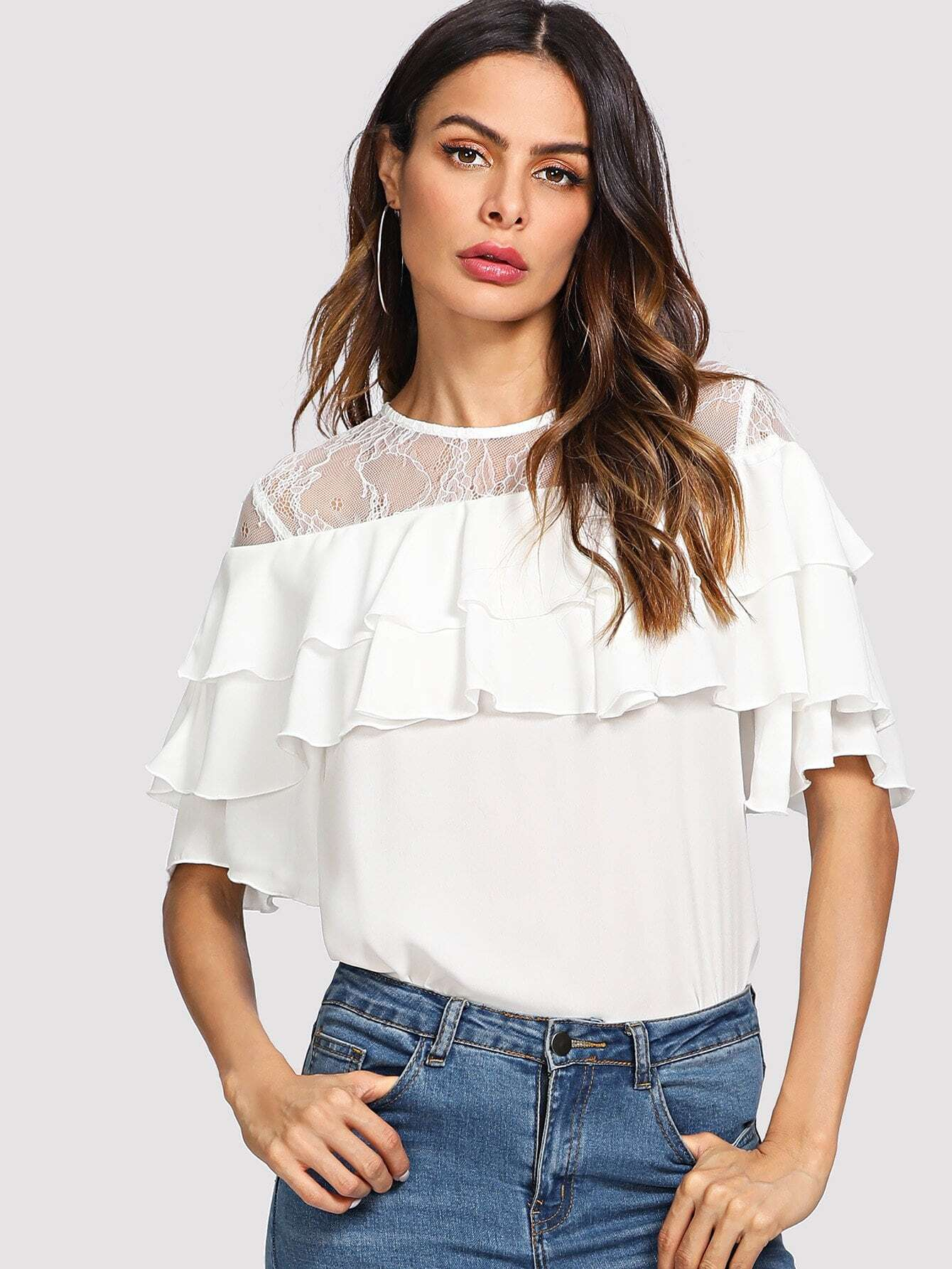 Lace Shoulder Layered Ruffle Top floral lace shoulder layered flounce top