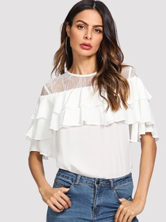 Lace Shoulder Layered Ruffle Top