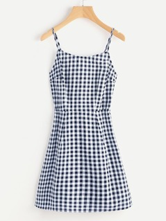 Open Back Princess Seam Gingham Cami Dress
