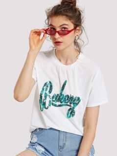 Sequin Letter T-shirt