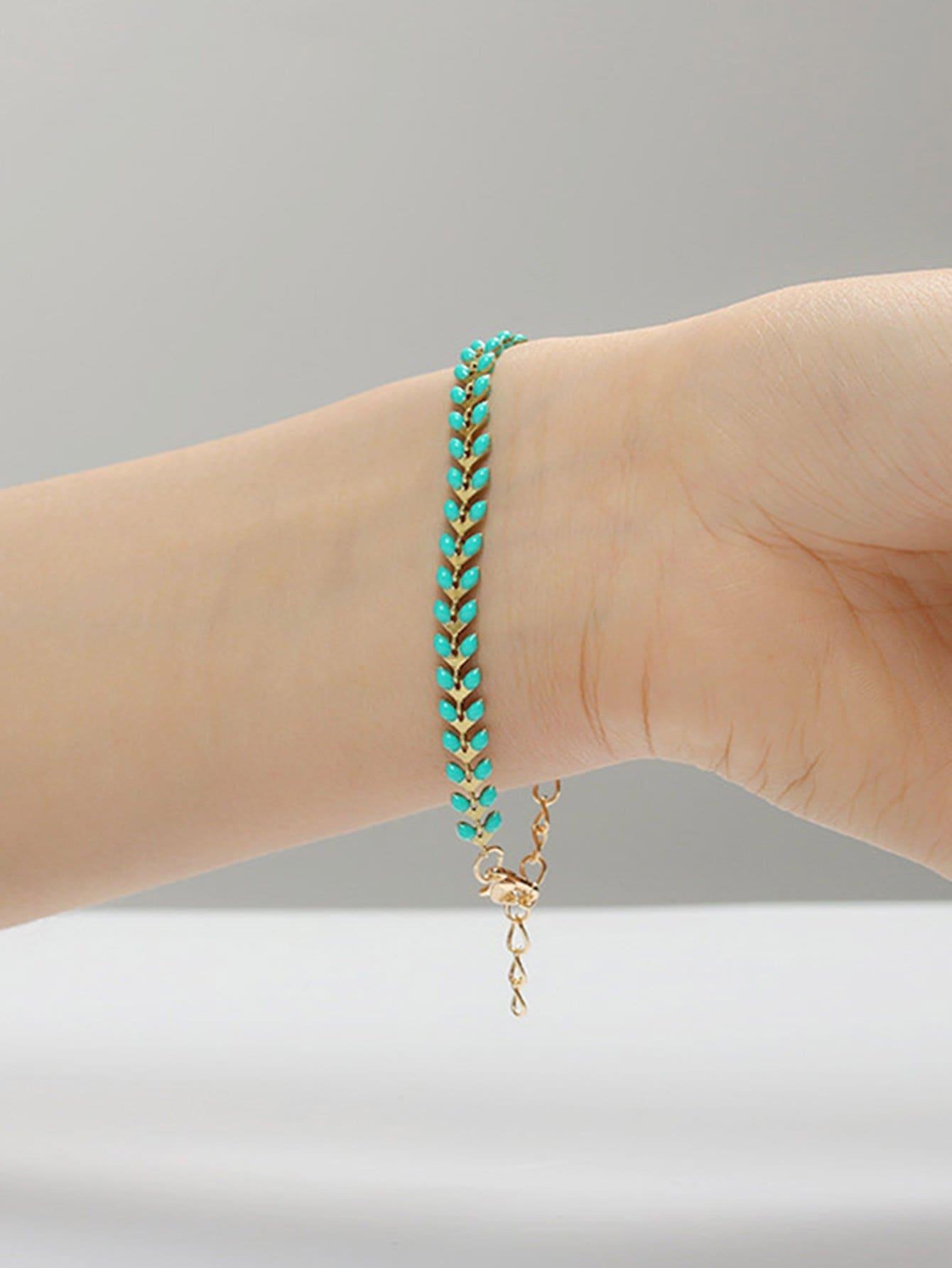 Leaf Shaped Chain Bracelet leaf opening bracelet