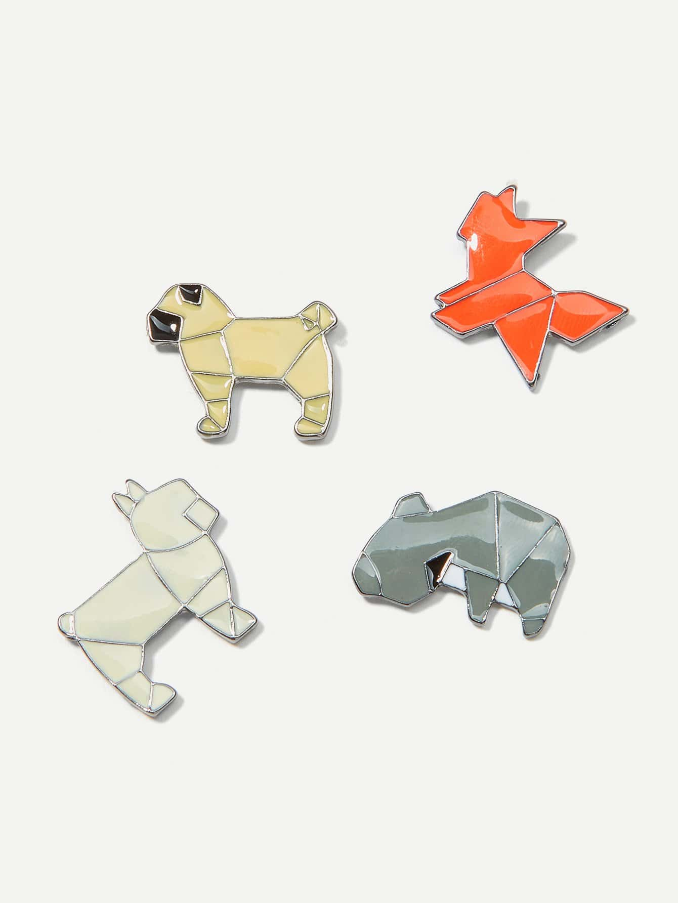 Animal Design Brooch Set 4pcs gtm 24