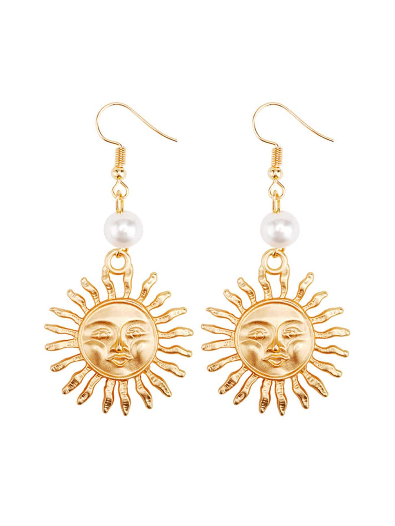 Sun & Face Design Drop Earrings