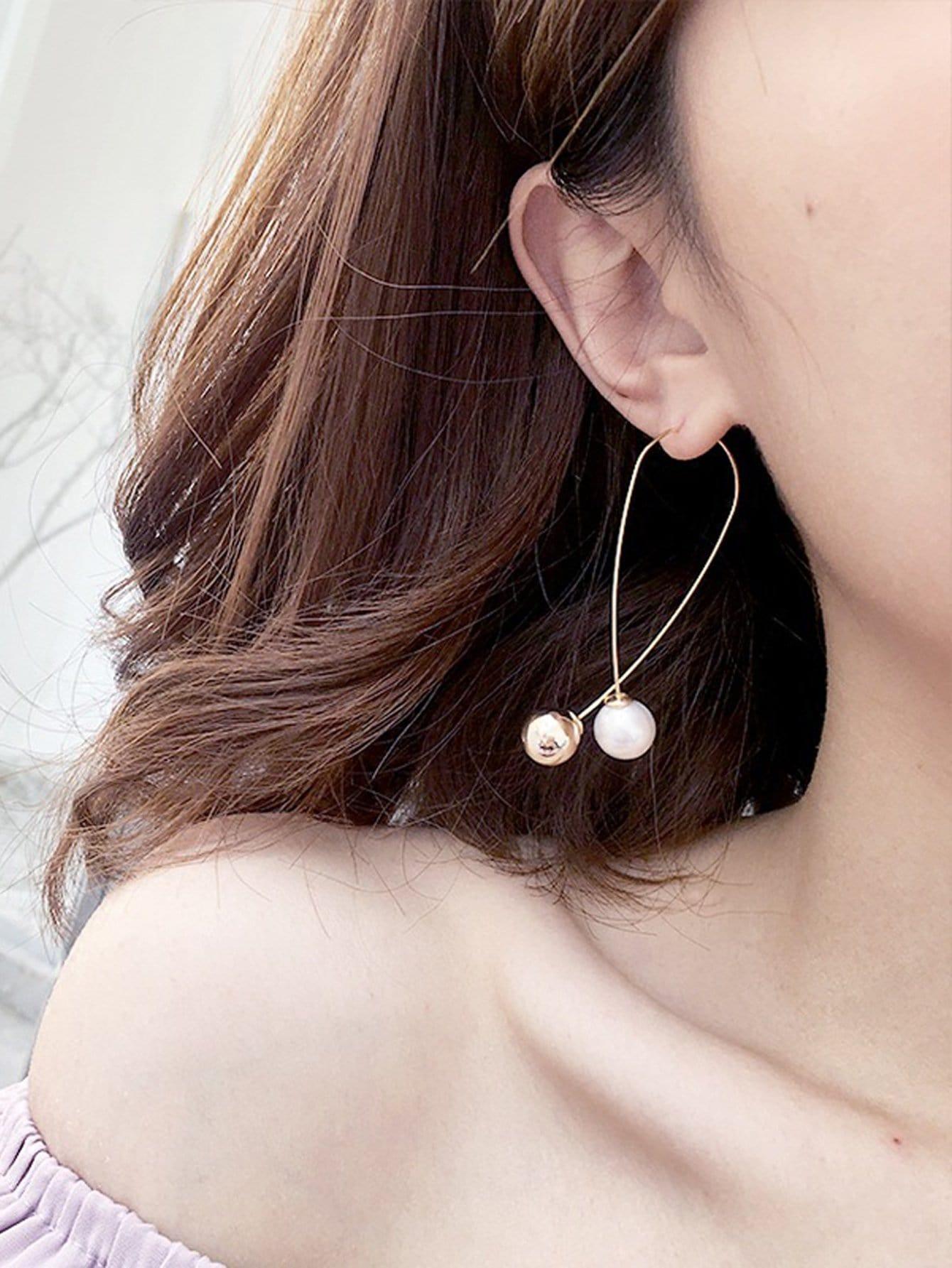 Ball Design Drop Earrings two tone face design drop earrings