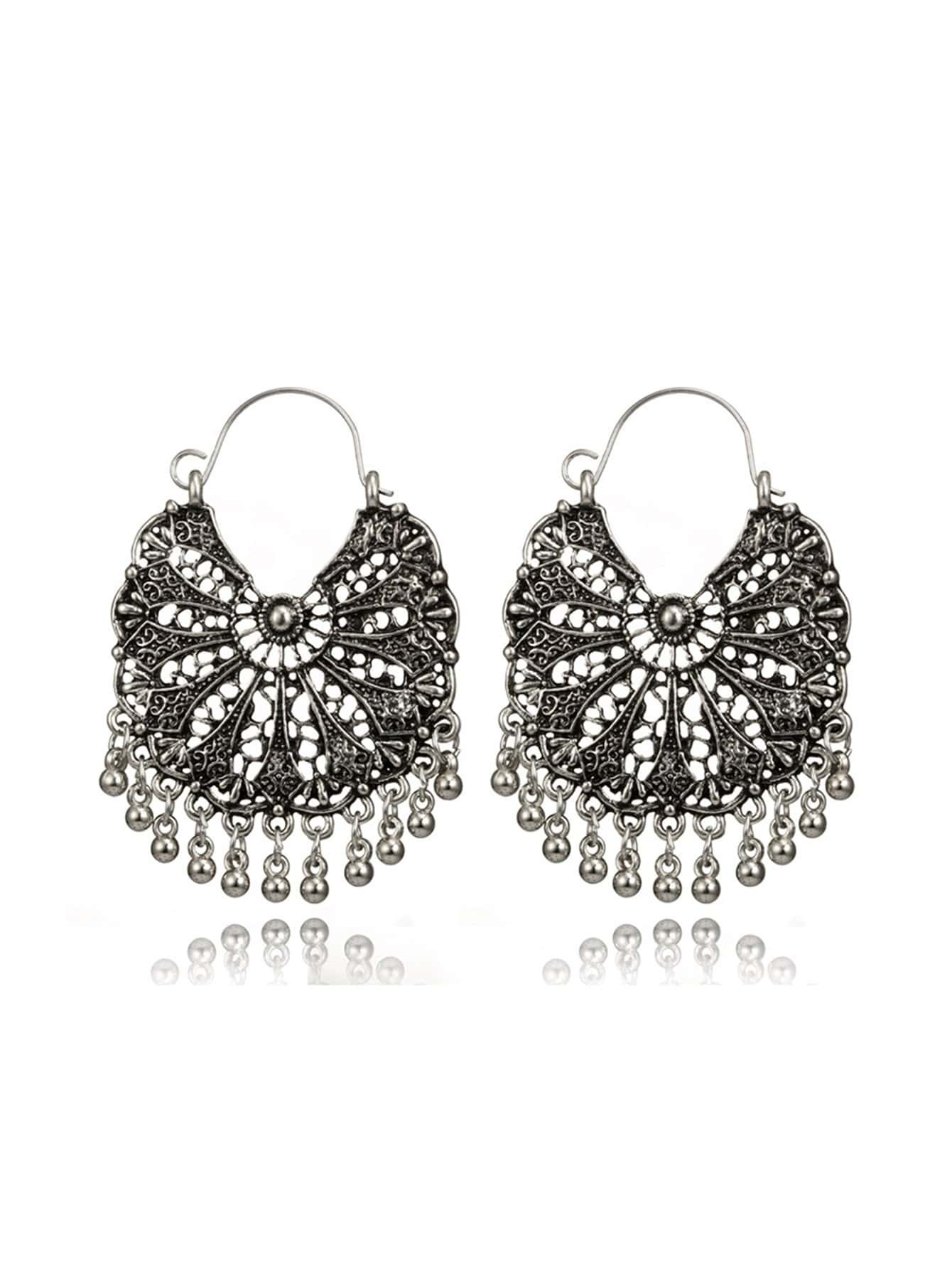 Ball Tassel Hollow Detail Drop Earrings hollow water drop shaped drop earrings