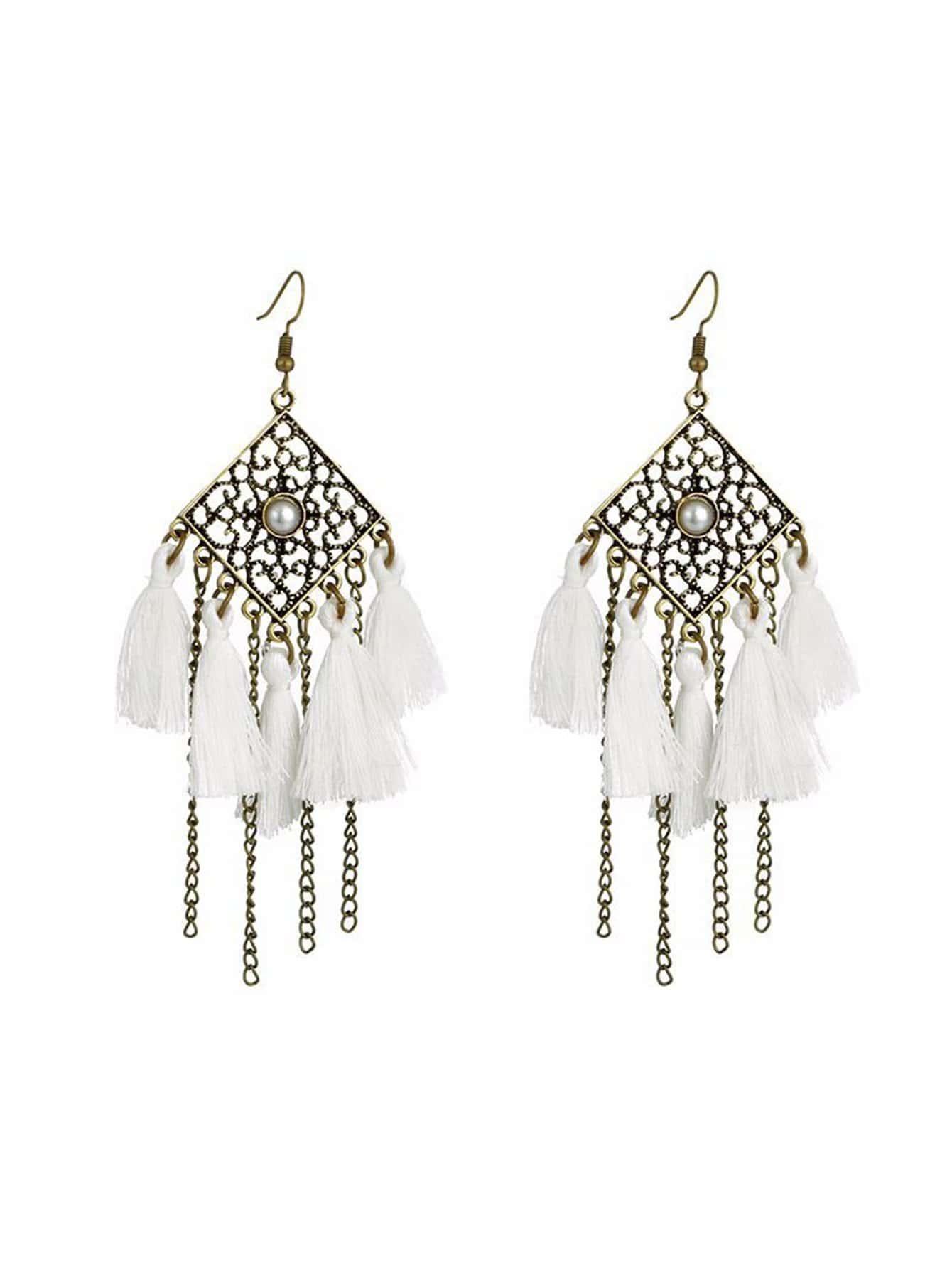 Hollow Design Tassel Drop Earrings two tone hollow face design drop earrings