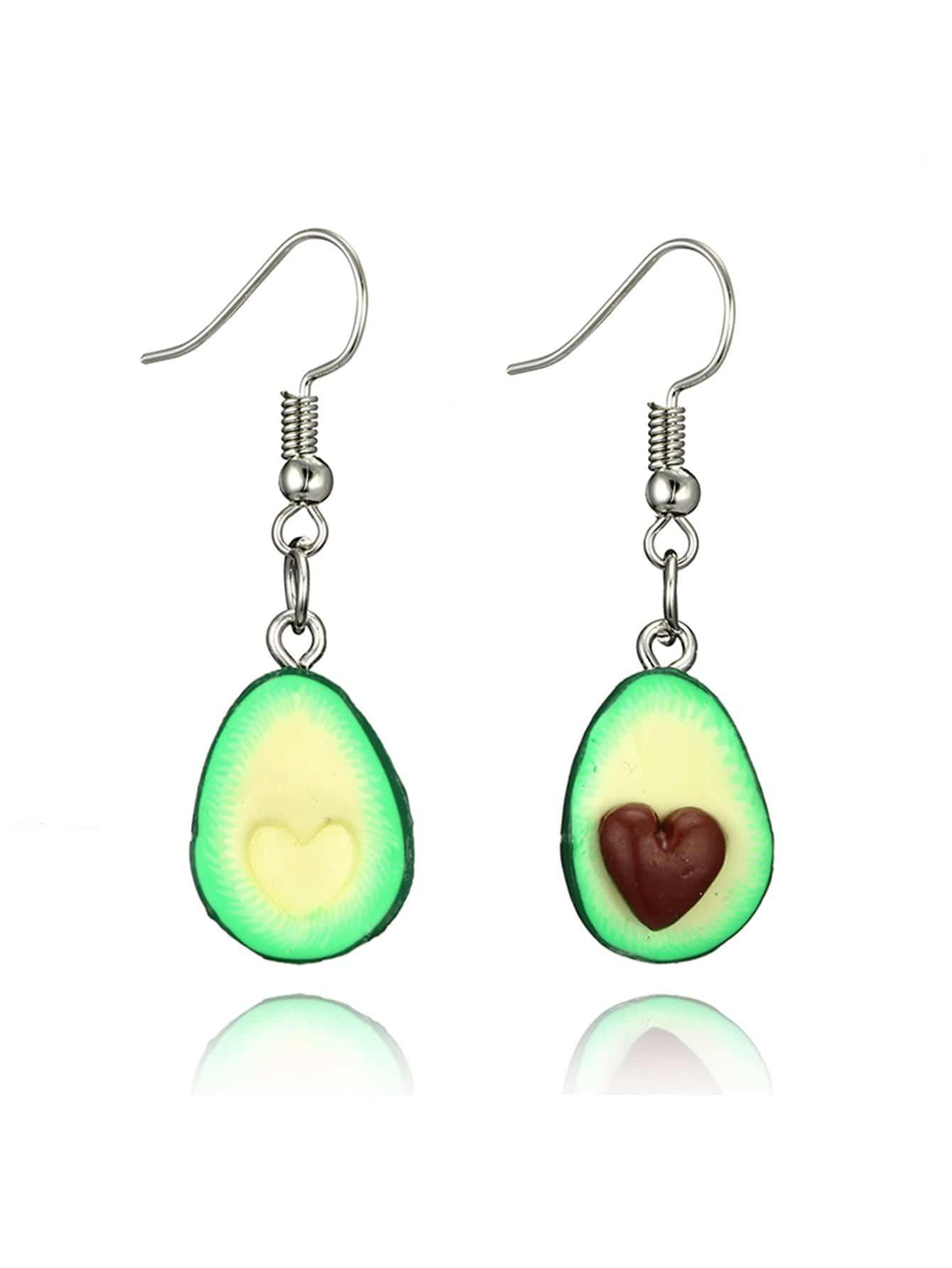 Avocado Design Drop Earrings two tone face design drop earrings