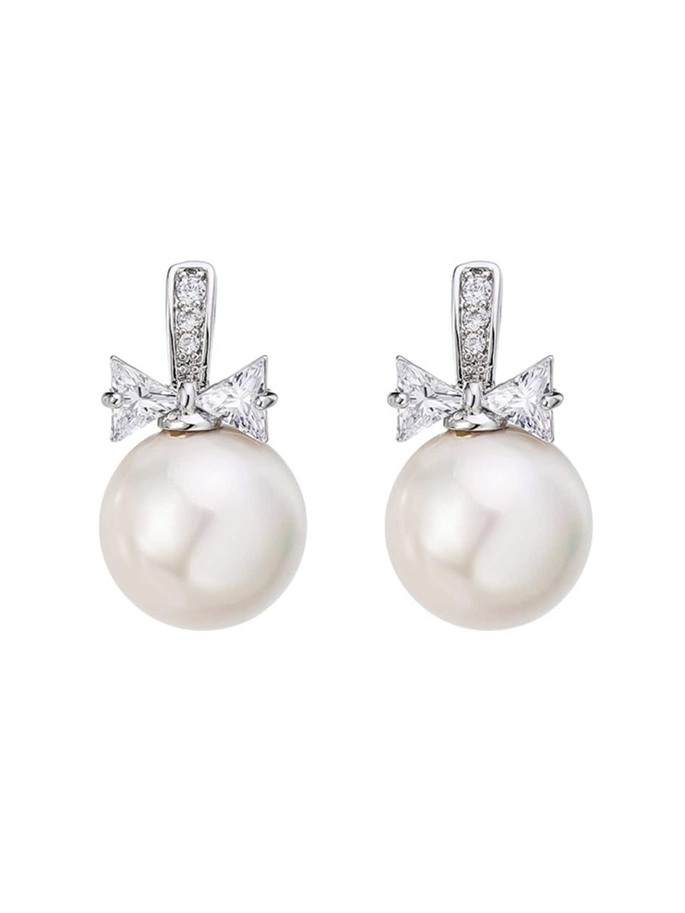 Faux Pearl & Bow Det...