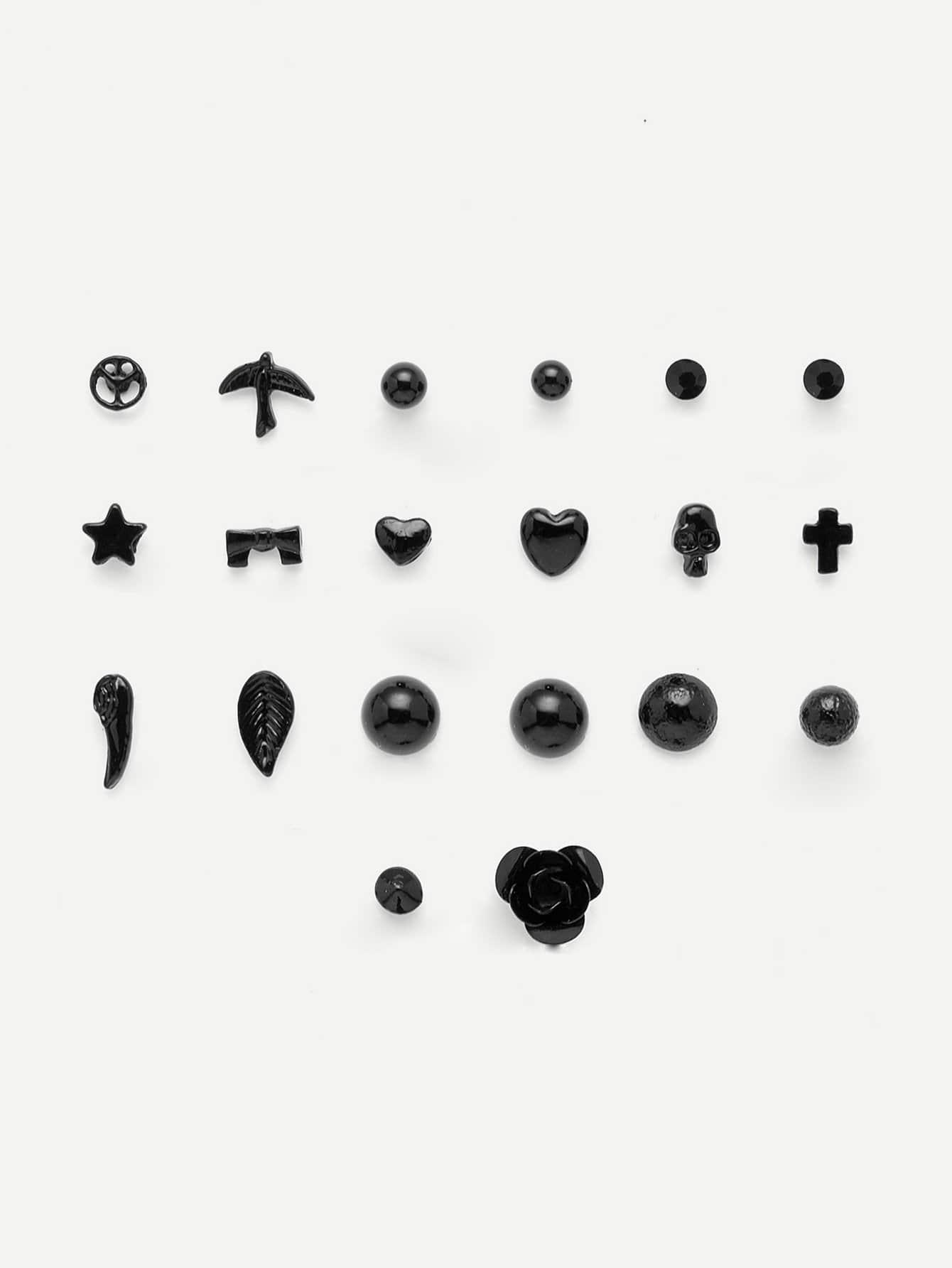 Серьги гвоздики 10 пар звезды крест-накрест