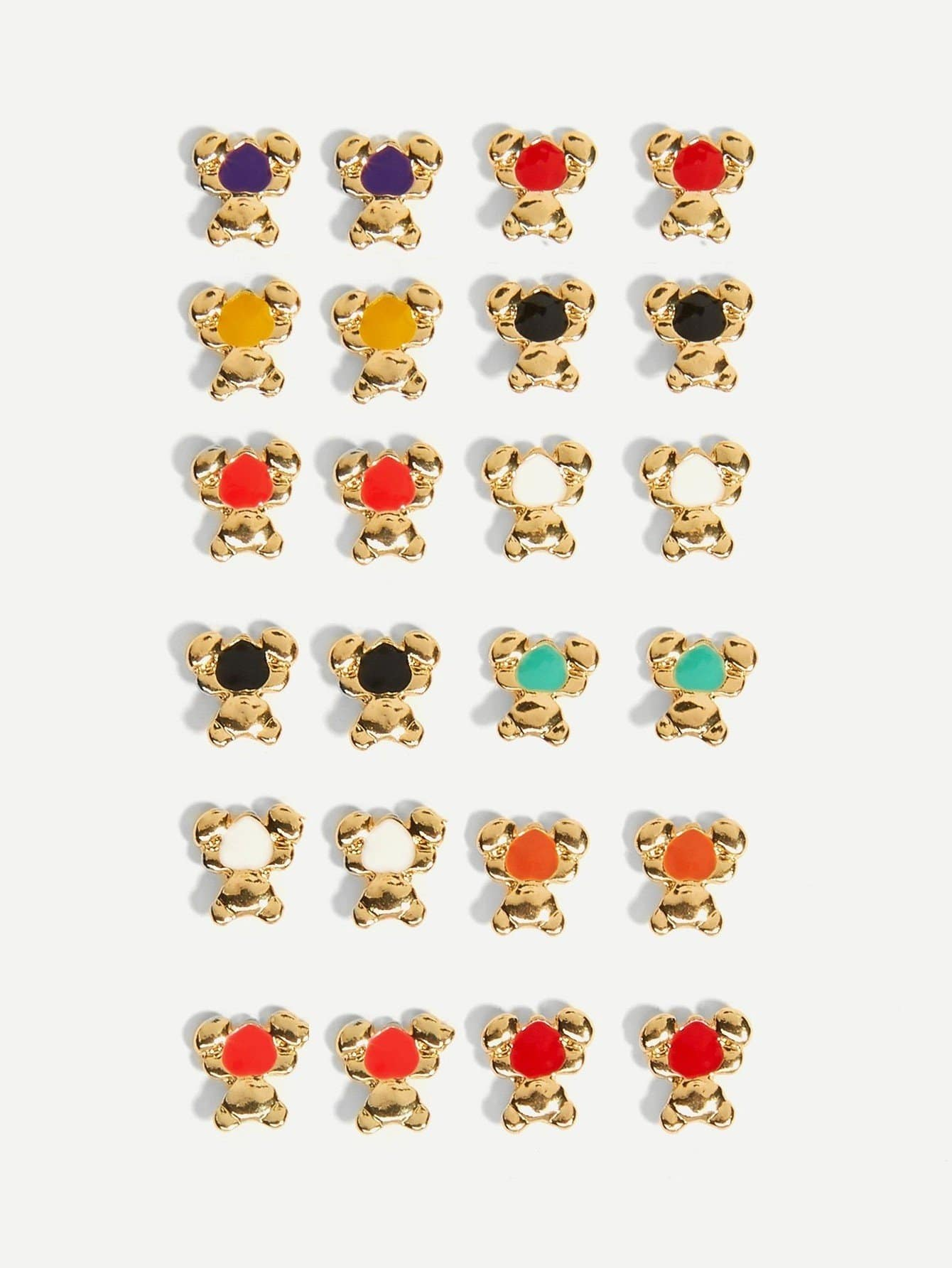Bear Shaped Stud Earrings 12pairs bear shaped toothbrush container
