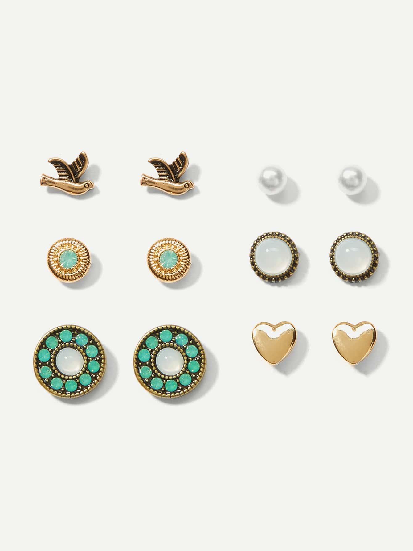 Серьги гвоздики 6 пар драгоценный камень сердце и птица