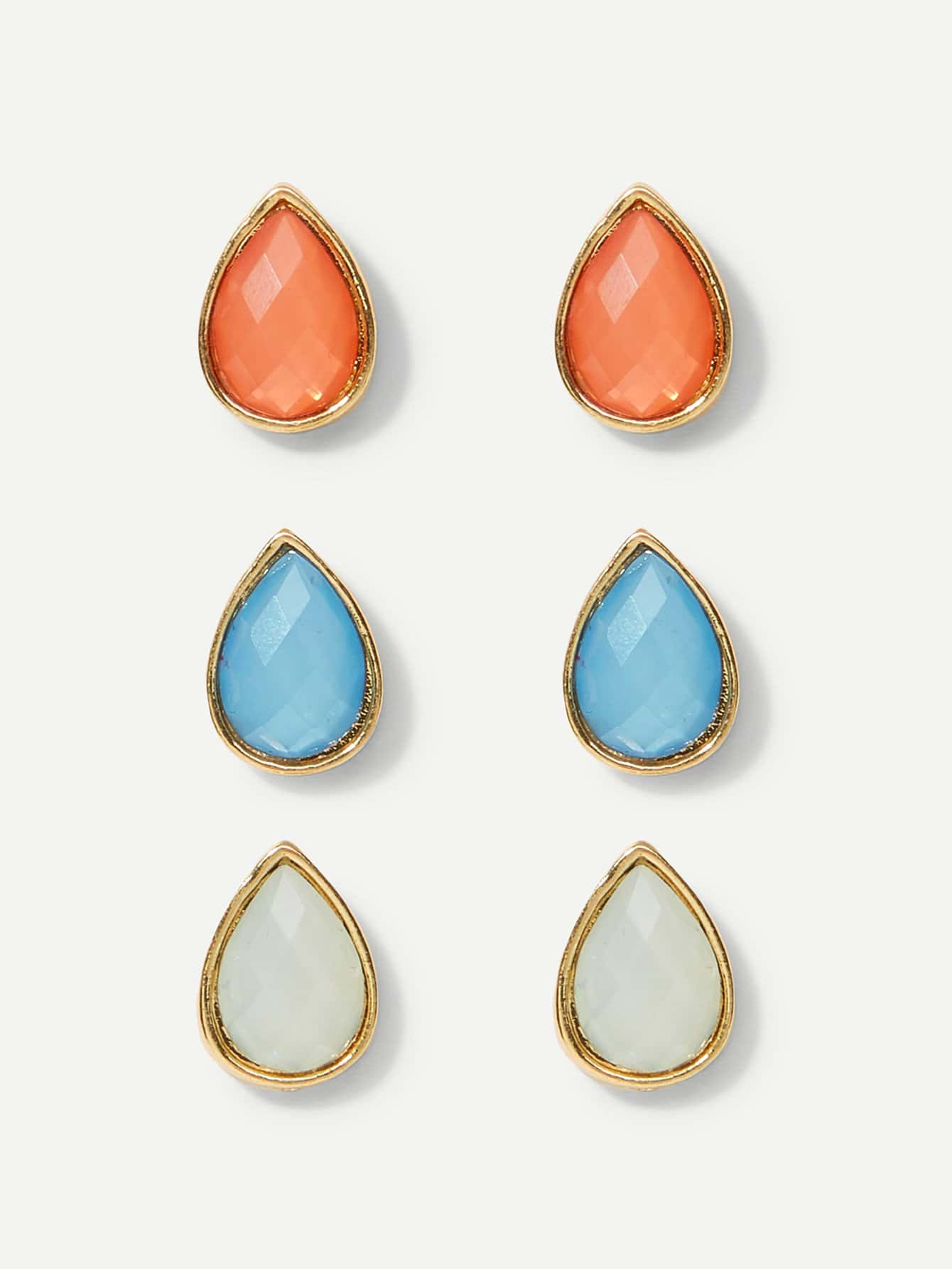 Waterdrop Shaped Stud Earrings 3pairs waterdrop shaped stud earrings