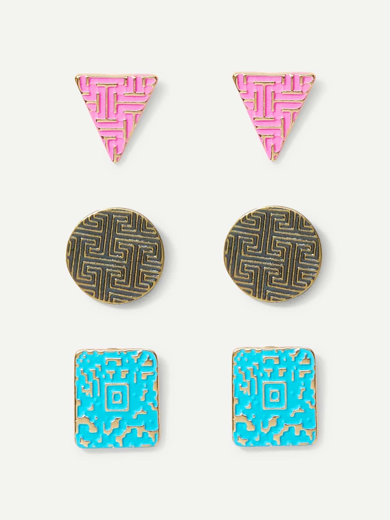 Geometric Stud Earrings 3pairs geometric green gemstones inlaid earrings