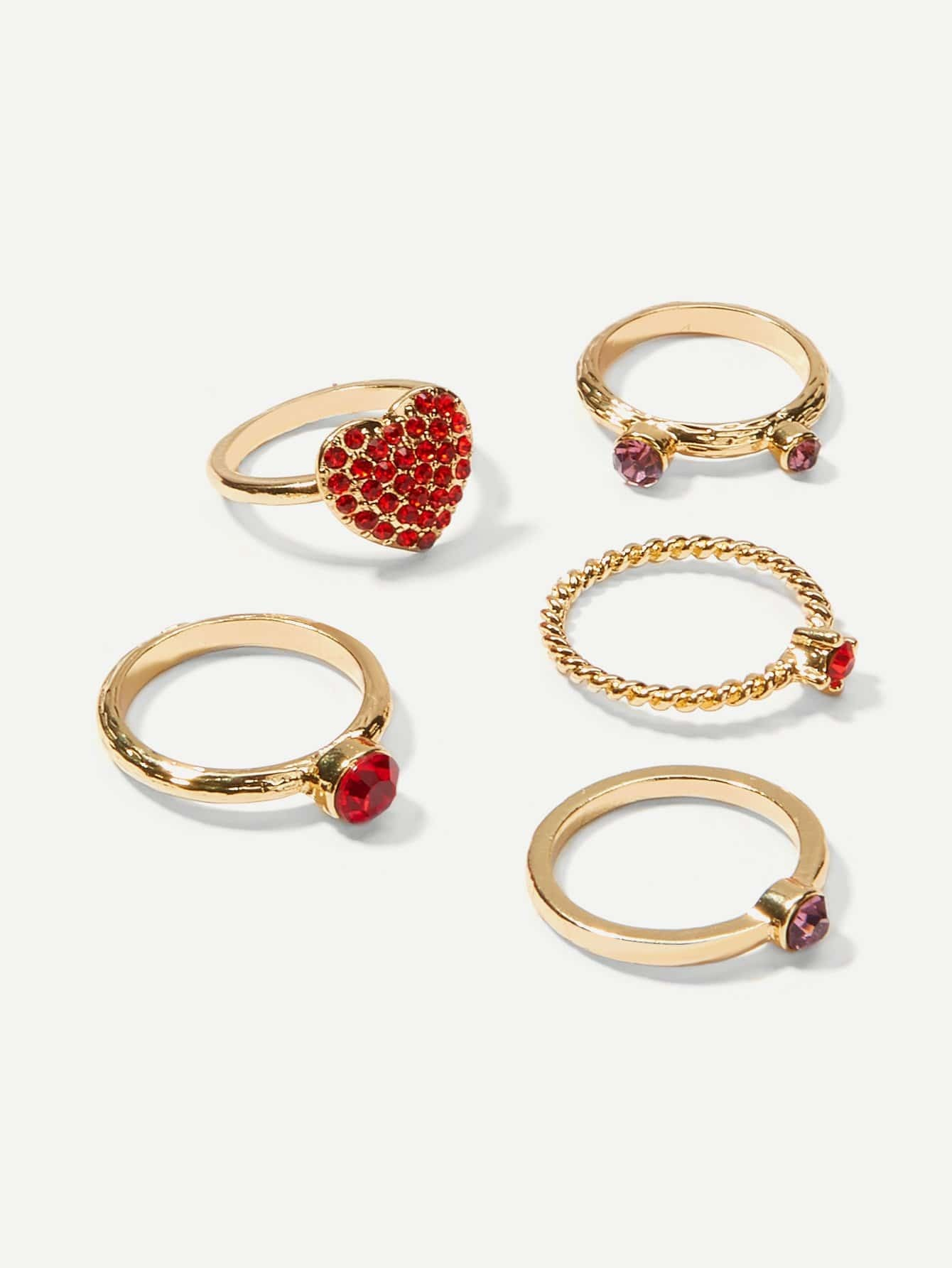 Heart Design Rhinestone Rings Set 5pcs 4pcs sweet rhinestone openwork heart design rings for women