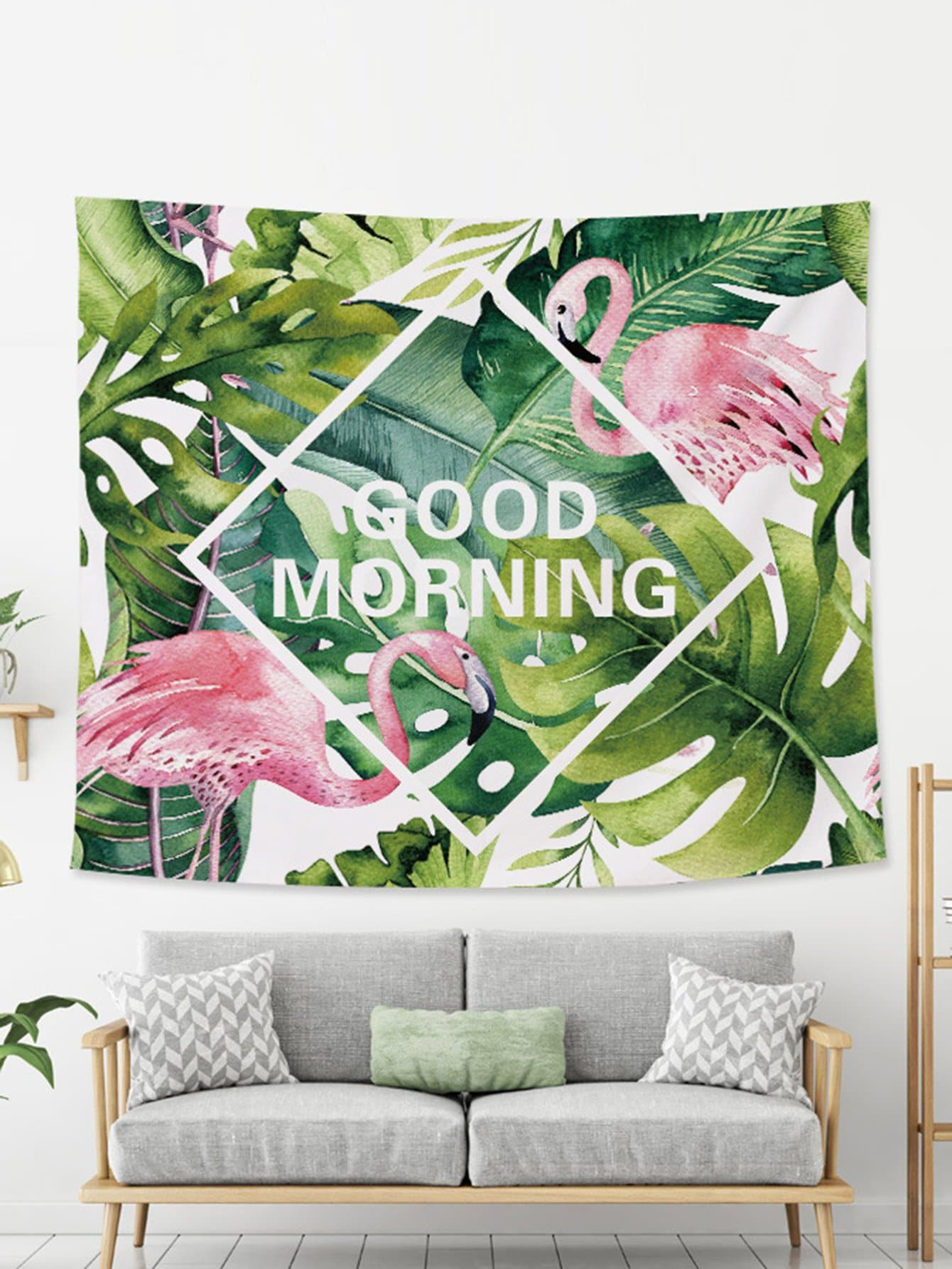 Tropical & Flamingo Print Tapestry tropical leaves print tapestry