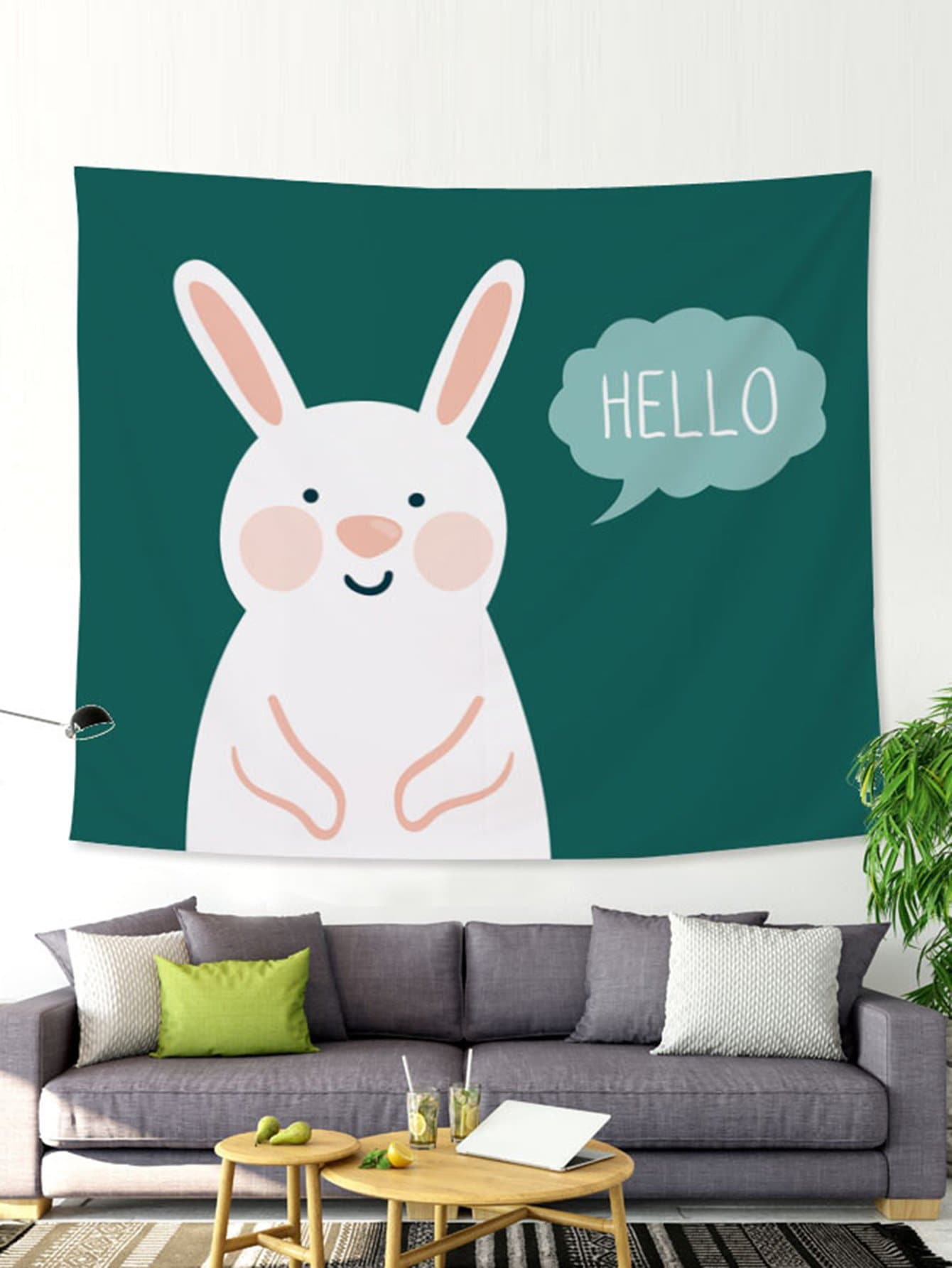 Cartoon Rabbit Print Tapestry rabbit print pullover
