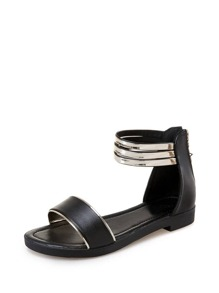 Metallic Detail Ankle Cuff Sandals