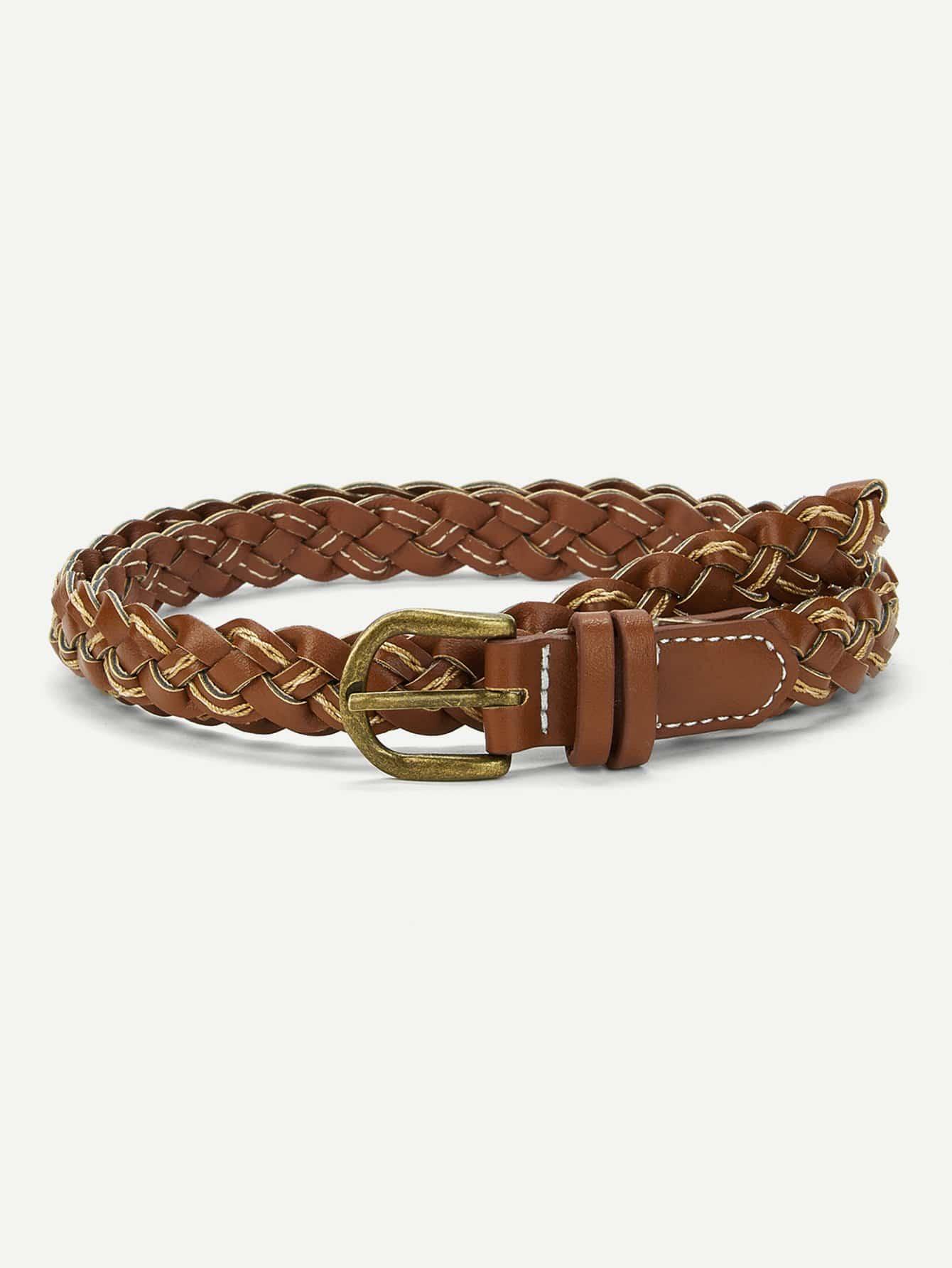 Metal Buckle Woven Belt metallic woven belt 2pcs
