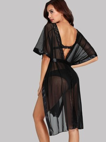 High Split Mesh Cover Up With Thong