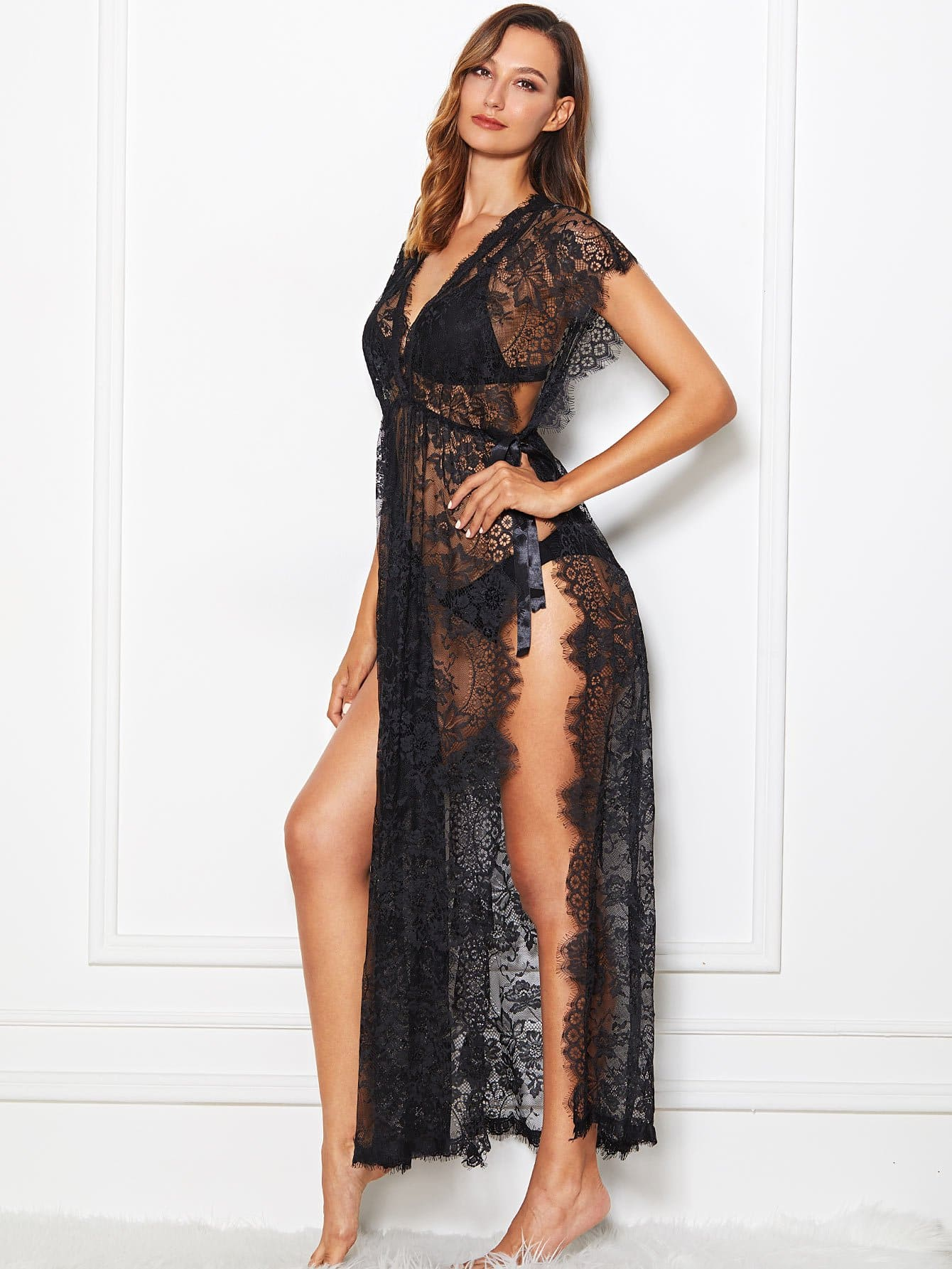 High Split Lace Dress With Thong high split lace dress with thong