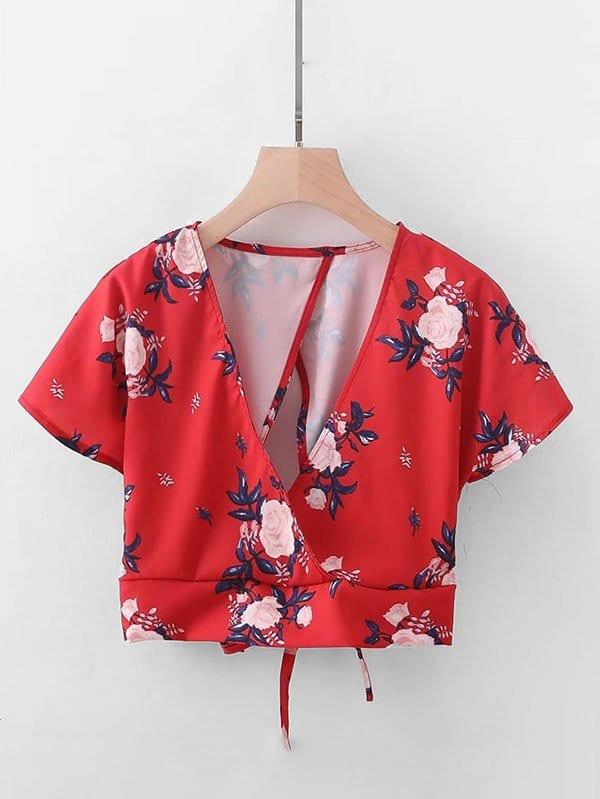 Florals Overlap Back Tie Back Crop Top floral print overlap back top