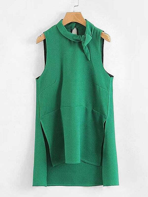 Knot Detail Slit Side High Low Blouse knot front hollow detail blouse