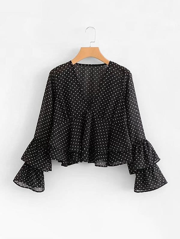 Tiered Ruffle Trim Spot Chiffon Blouse леонид боголюбов android dev подкаст выпуск 03