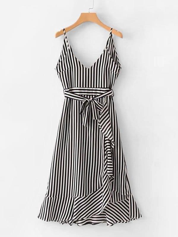 Contrast Stripe Ruffle Hem Cami Dress stripe contrast ruffle hem hooded dress