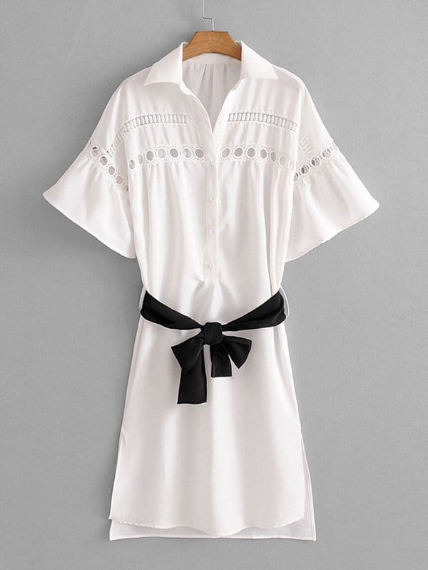 Hollow Out Crochet Panel Belted Shirt Dress hollow out embroidery panel dress