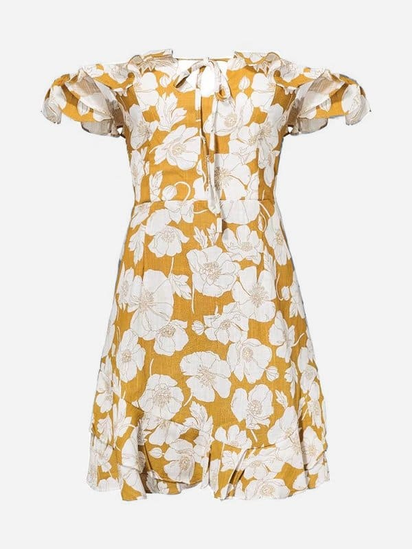 All Over Florals Ruffle Trim Dress all over florals ruffle hem wrap dress