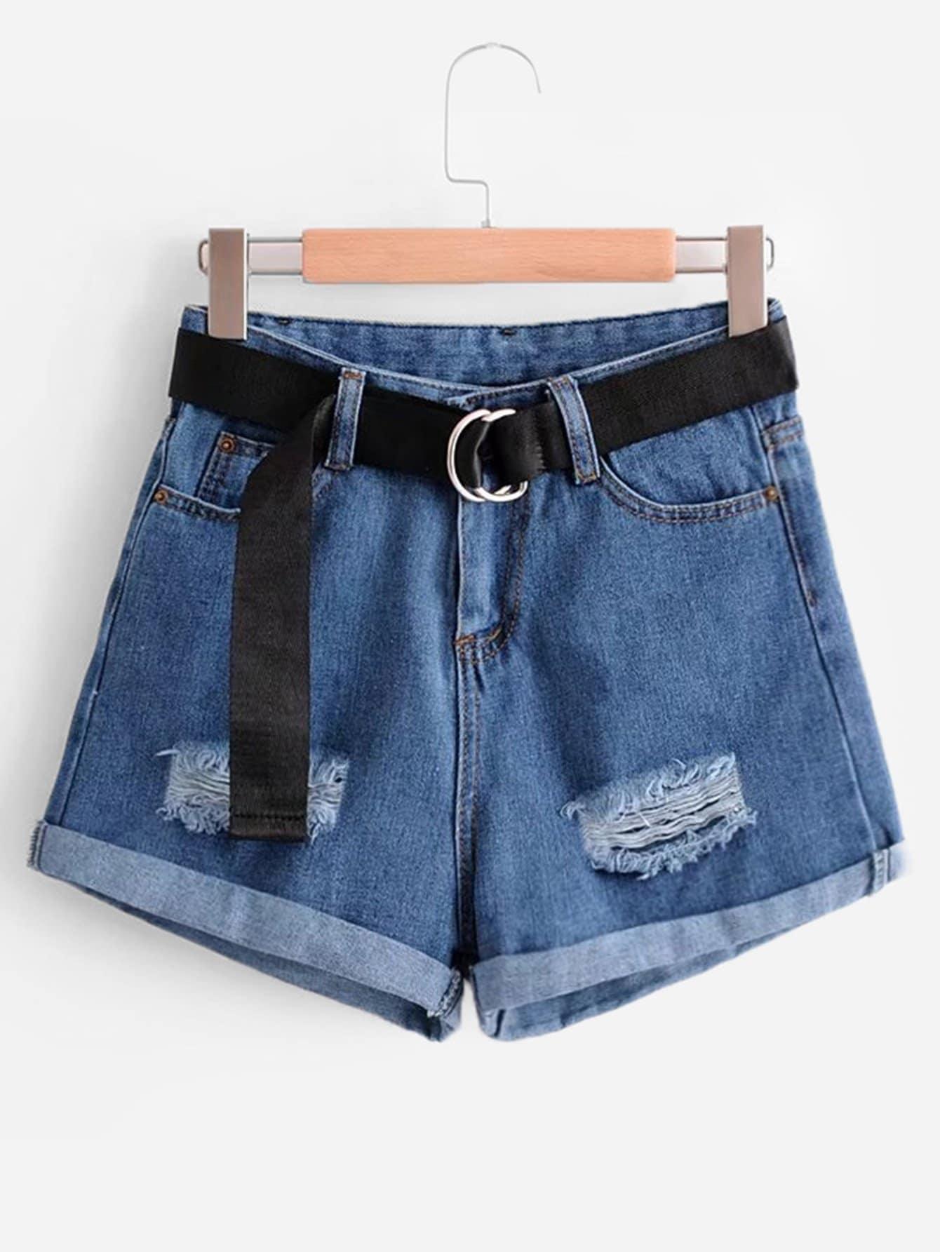 Belted Rolled Hem Denim Shorts solid rolled hem pants