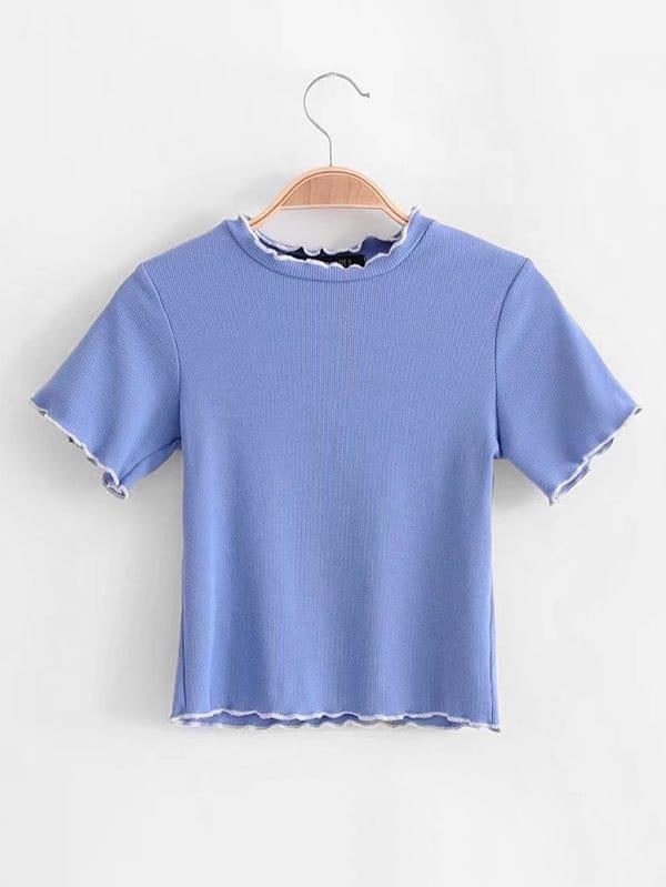 Contrast Lettuce Trim Knit Tee женское платье new 2015 bodycon wcdr130
