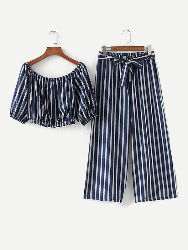 Купить Топ с полосками бандо и широкие брюки, null, SheIn