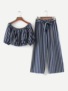 Bardot Striped Top With Wide Leg Pants