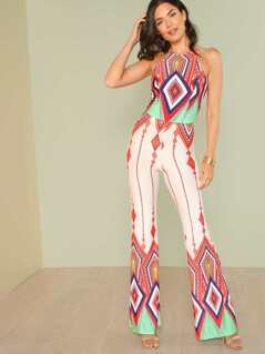 Diamond Print Halter Top with Flared Leg Pants
