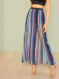 Stripe Sheer Skirt with Slit