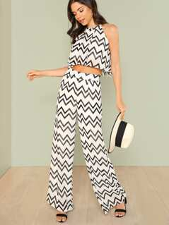 Chevron Print Sheer Top with Matching Palazzo Pants