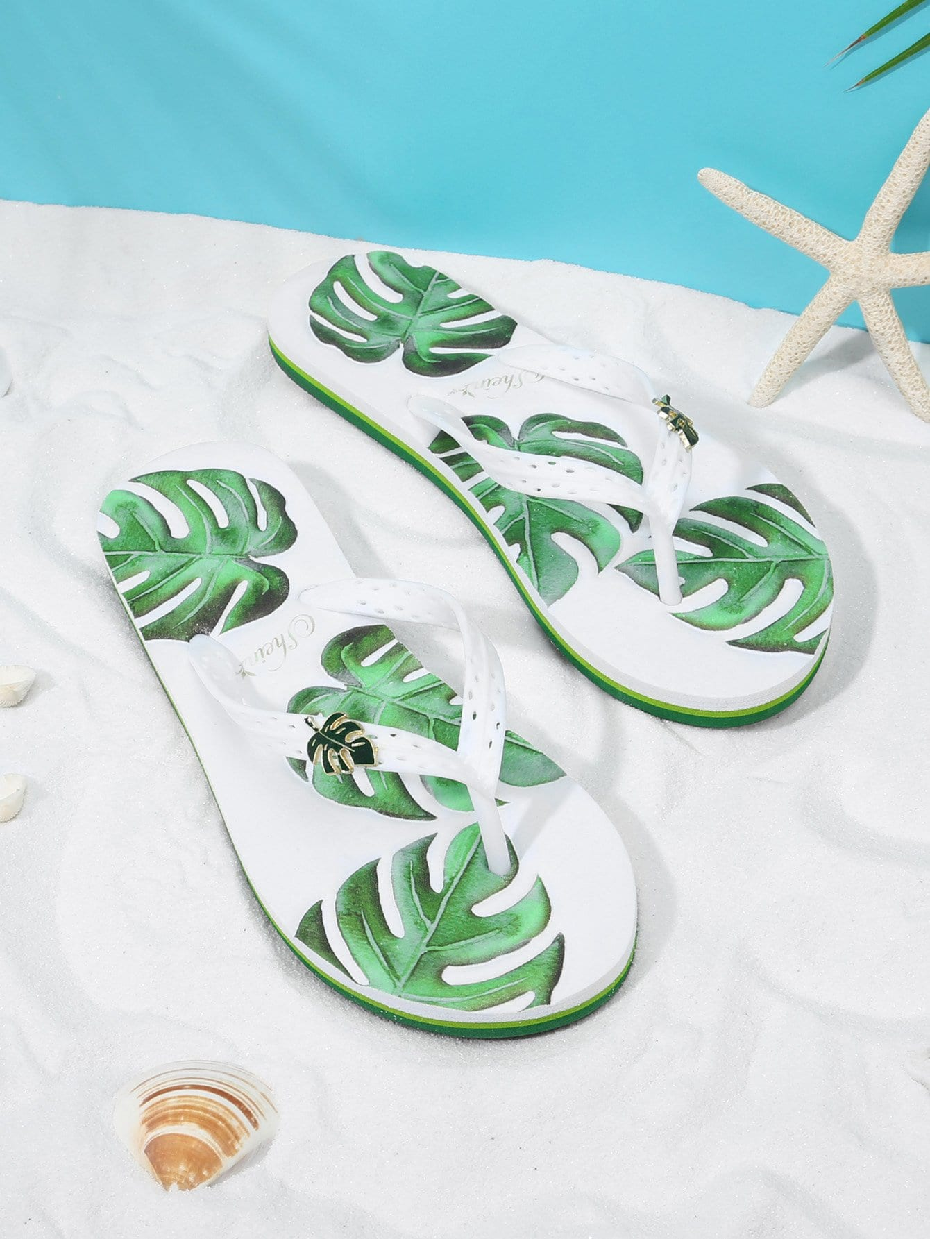 Leaf Decorated Flip Flops