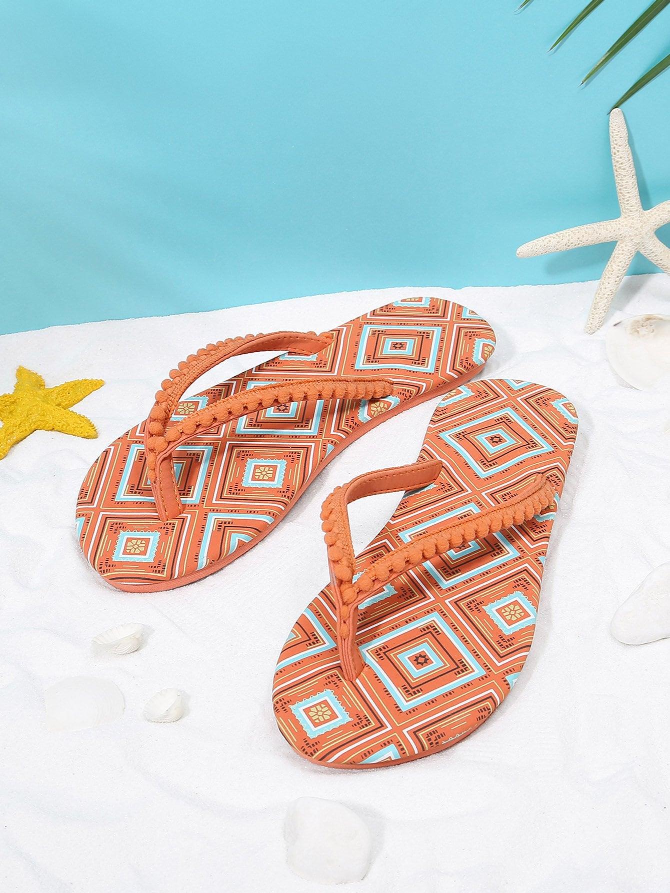Pom Pom Front Flip Flops pom pom front zipper design stiletto heels