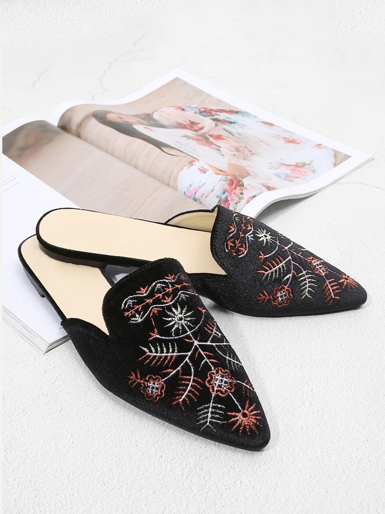 Embroidered Detail Flat Mules beaded bee flat mules