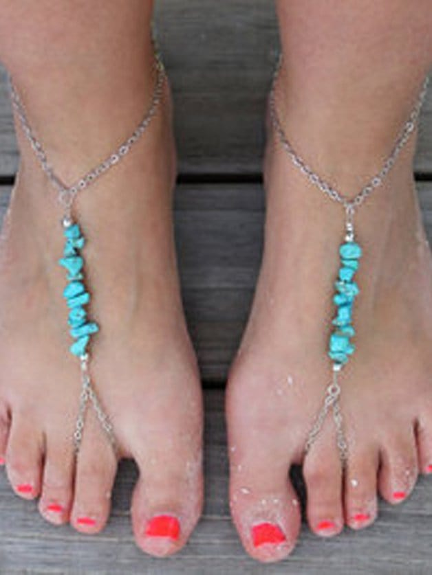 Turquoise Beaded Finger Chain