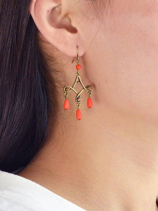 Orange Retro Tassel Earrings цены онлайн