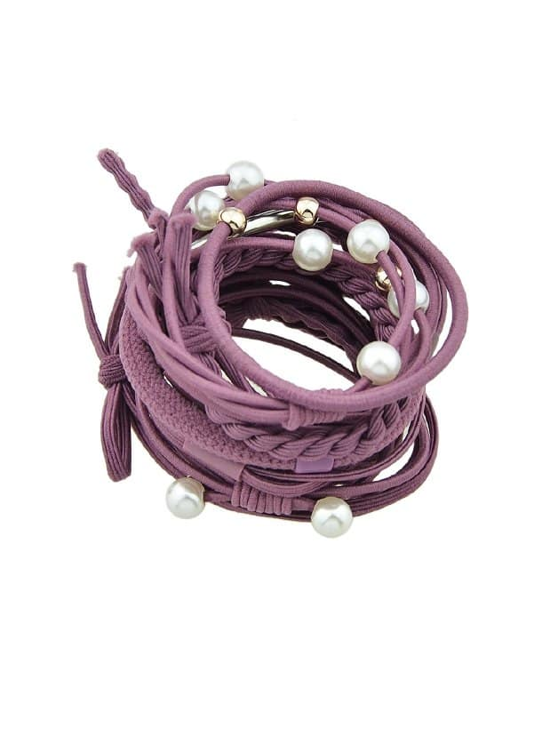 Purple Fresh And Simple Hair Ring Set