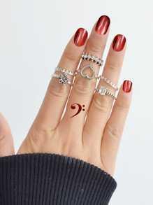 Love Flower Diamond Ring Set 6 Pieces