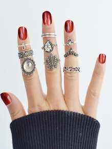 Exaggerated Gemstone Ring 9 Sets