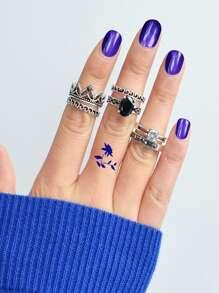 Simple Tibetan Silver Set Of 6 Rings