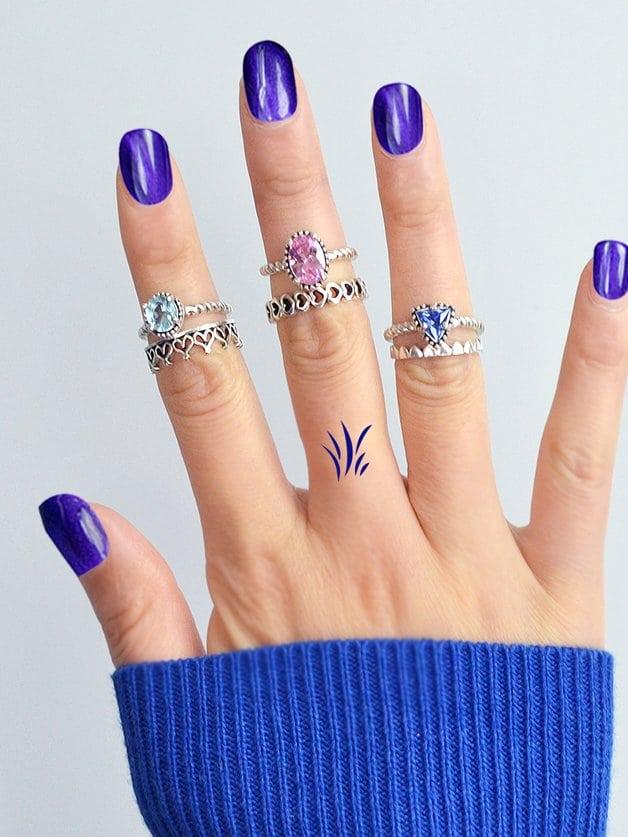 Diamant Bleu Poudre Gem Set De 6 Anneaux